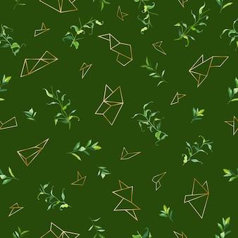 熱帯の葉と幾何学的な黄金の形と花のシームレスなパターン