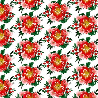 Floral seamless pattern with tulips, berries and tropical leaves