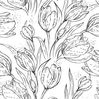 チューリップと花のシームレスなパターン