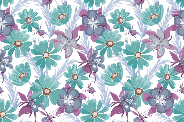 Floral seamless pattern with turquoise and purple flowers. gaillardia aquilegia, columbine flowers