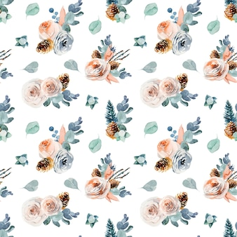 빈티지 꽃 작곡과 꽃 원활한 패턴