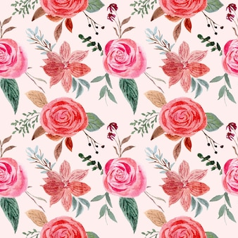 Floral seamless pattern with vintage roses flowers compositions