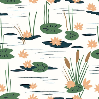 Floral seamless pattern with water lilies