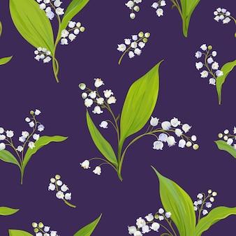 スズランの水彩画と花のシームレスなパターン