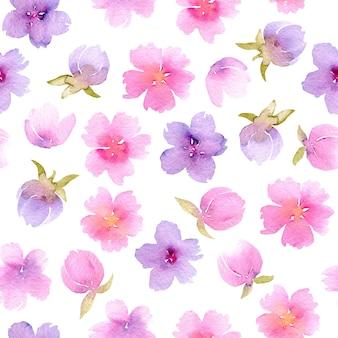 水彩ピンクと紫色の花と花のシームレスなパターン、手は隔離されている