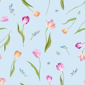 수채화 튤립과 꽃 원활한 패턴