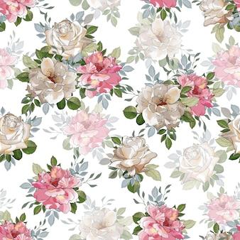 Цветочный фон с белыми и розовыми цветами роз.