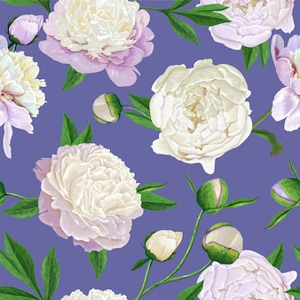Floral seamless pattern with white peonies flowers