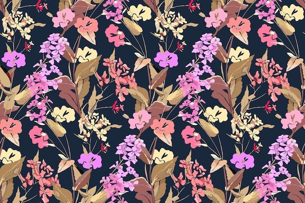 Цветочный фон с полевыми цветами и травами. розовые, желтые, фиолетовые цветы.