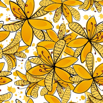 Floral seamless pattern with yellow flowers.