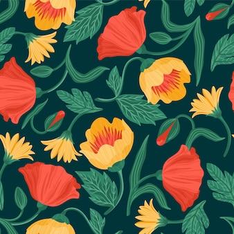 Floral seamless pattern. Premium Vector
