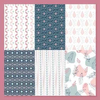 꽃 원활한 패턴 세트