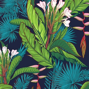 Floral seamless tropical pattern