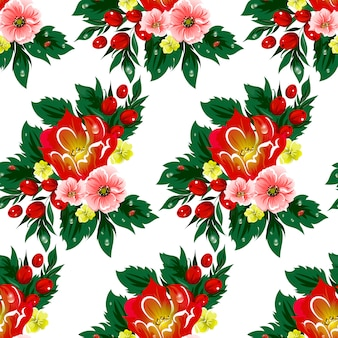 Floral seamless vector pattern with berries