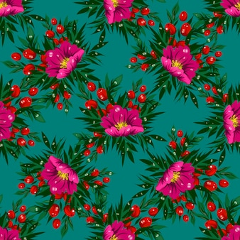 Floral seamless vector pattern with tropical flowers