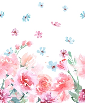 Floral seamless watercolor borders with roses, vintage style, watercolor vector illustration.