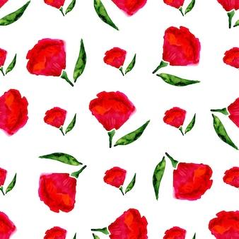 꽃 원활한 수채화 패턴입니다. 흰색 배경 벡터 밝은 붉은 꽃