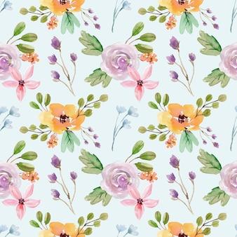 노란 모란과 보라색 장미 꽃 원활한 수채화 패턴