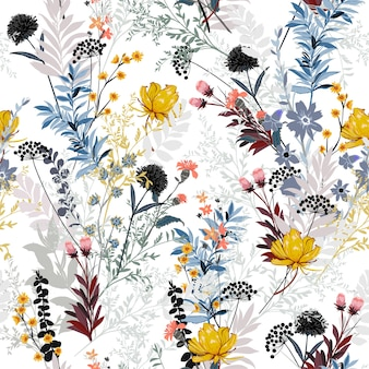 Floral seasonal seamless pattern