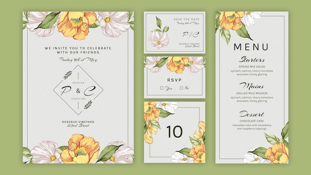 Floral set collection for wedding