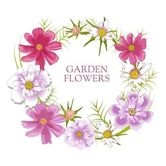 꽃 세트 금 잔 화, 코스모스와 여름 및 봄 격리 정원 꽃.