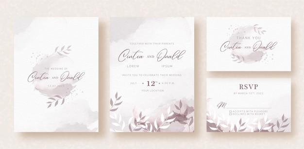 Цветочные формы на абстрактном всплеске акварельного свадебного приглашения