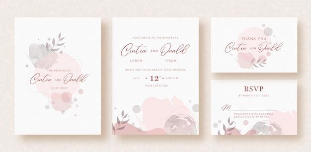 Цветочные формы на розовом абстрактном всплеске акварель свадебное приглашение