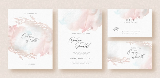 Floral silhouette splash abstract background on wedding card