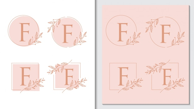 Цветочный простой деревенский буква f логотип вектор