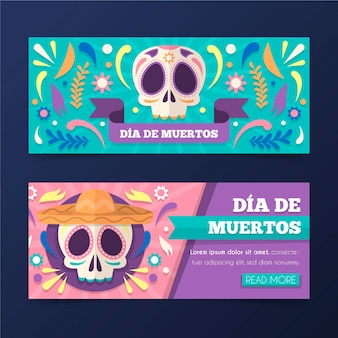 Floral skull day of the dead banner template