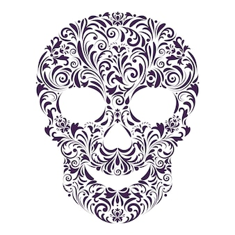 Floral skull on white background.