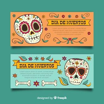 Floral skulls día de muertos banners