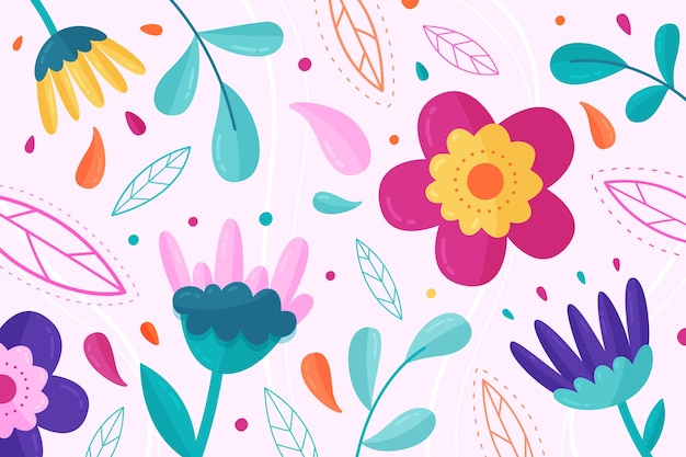 Floral spring background hand drawn