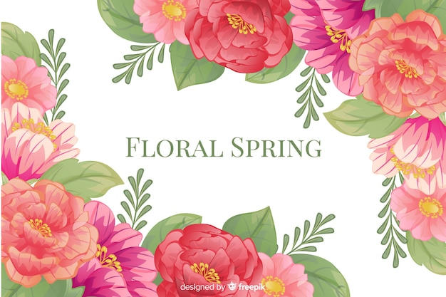 Floral spring background with colorful frame