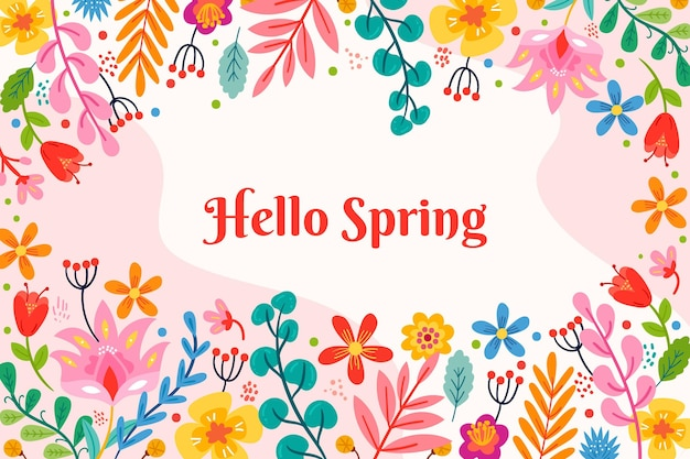 Цветочный весенний фон с приветствием