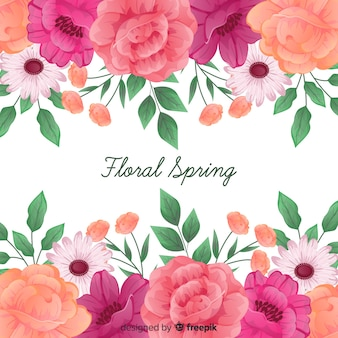Floral spring background with roses frame