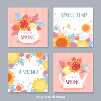 Floral spring card collection