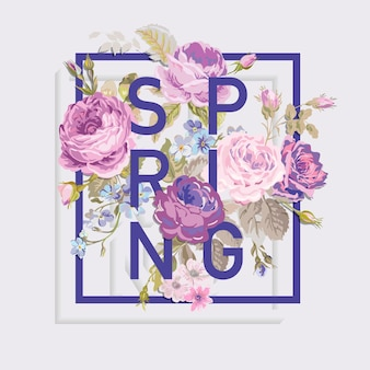 Floral spring graphic design for tshirt