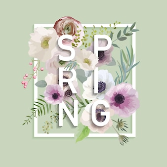 Floral spring graphic design with anemone flowers