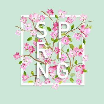 Floral spring graphic design with cherry blossom flowers for t-shirt, fashion prints