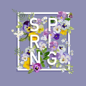 Floral spring graphic design with pansy flowers