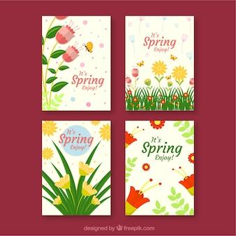 4つの花の挨拶カードセット