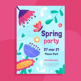 꽃 봄 파티 전단지 서식 파일