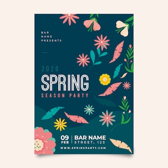 Floral spring party poster template