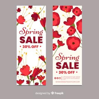 Floral spring sale banner template