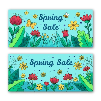 Floral spring sale banners with butterfly and bee