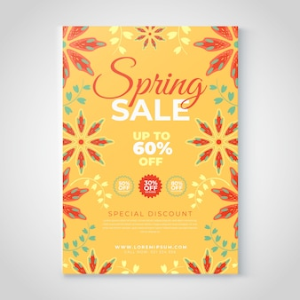 Floral spring sale flyer template