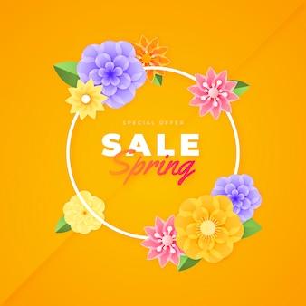 Цветочная весенняя распродажа в бумажном стиле
