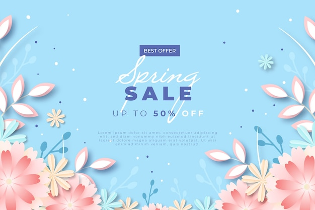 Floral spring sale in paper style