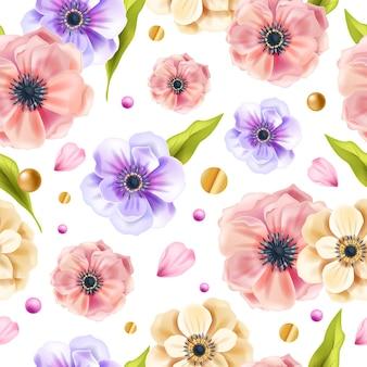アネモネの花、緑の葉、白い背景に金色のドットと花の春のシームレスなパターン。エレガントな装飾が施された夏の花のリピートテクスチャ。植物のロマンチックな花のシームレスなパターン